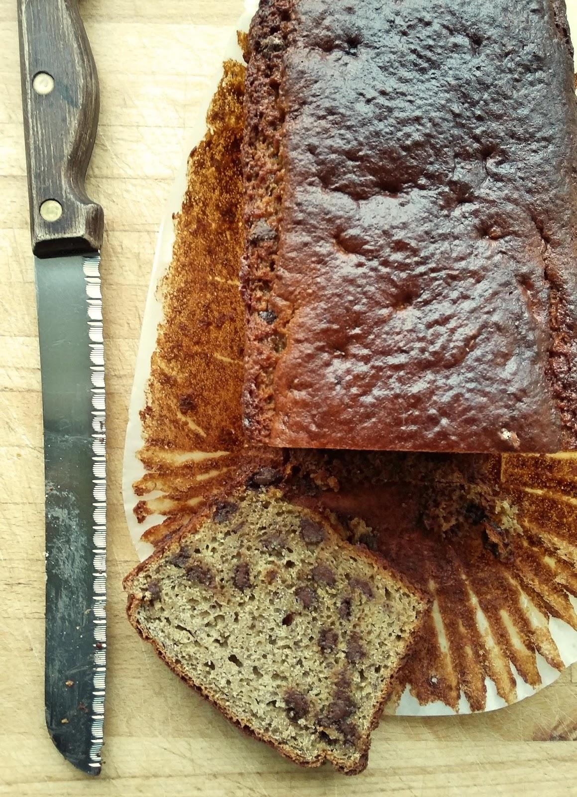 Besan flour, banana and choc chip loaf - gluten free