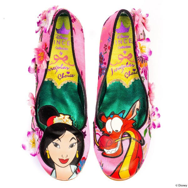 pink court shoes with green and yellow lining and Mulan characters on toes