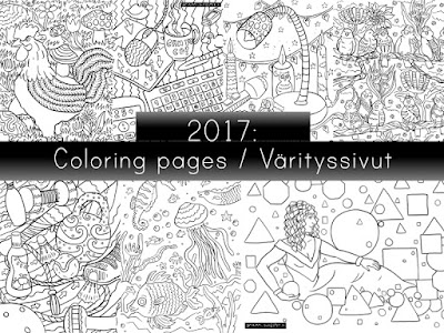 A wrap-up of the free coloring pages made in 2017 / Kooste ilmaisista värityskuvista vuodelta 2017