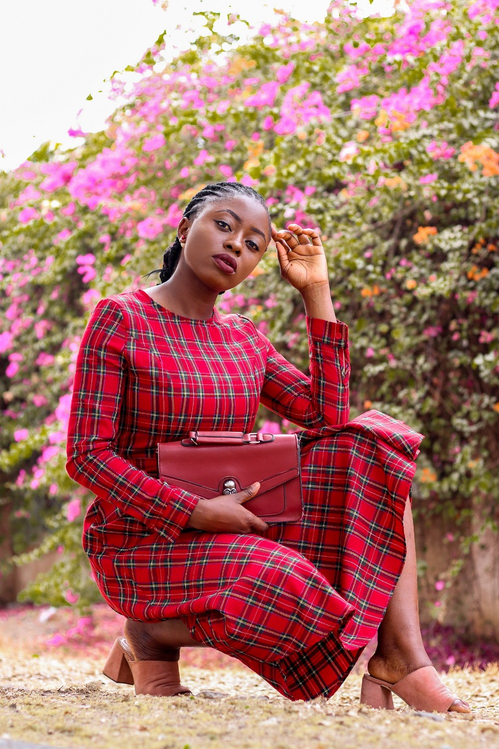red tartan plaid midi dress with pink mules princess audu