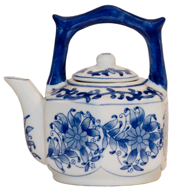A small one-cup ceramic tea pot with blue flowers.