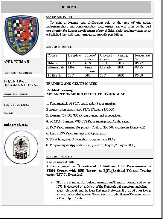 Resume Format For Freshers Computer Science Engineers Free Download