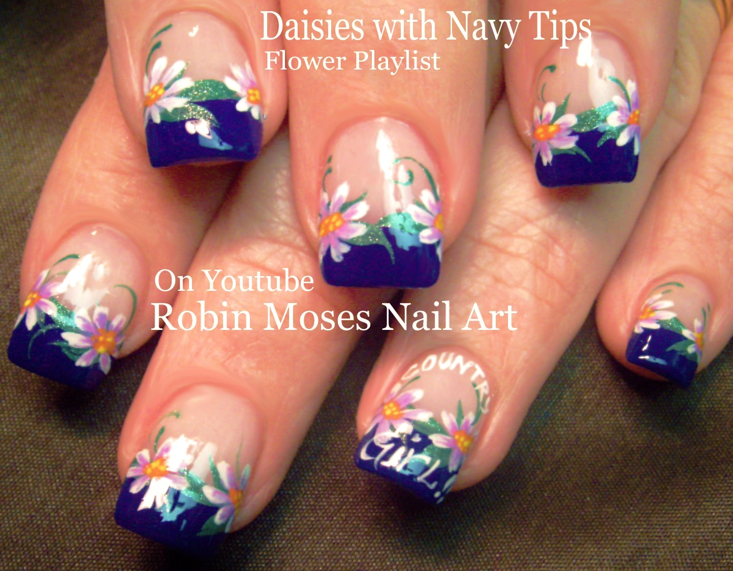 Nail Art by Robin Moses: Daisy Nail Art on Navy Blue Tips! \