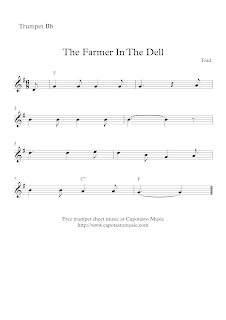 The Farmer In The Dell, sheet music for trumpet