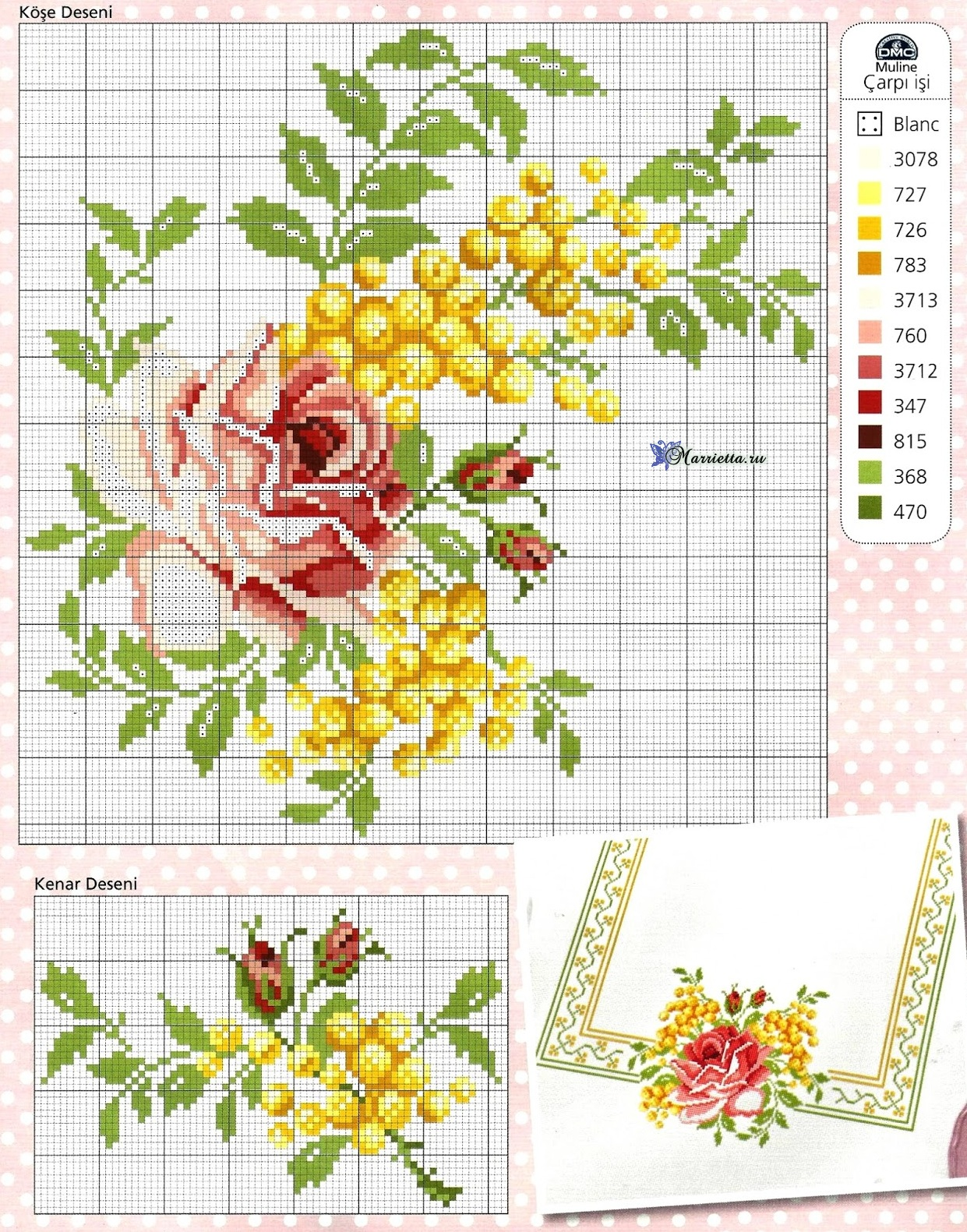 Схемы вышивки крестом скатерти розы