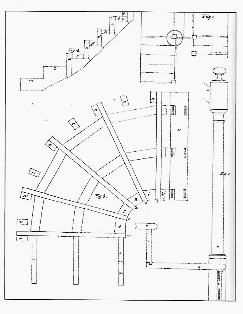 jane griswold radocchia the pattern books of asher benjamin Make Your Own Newel Posts in the upper right is a careful drawing showing where to place newel posts on stair landings i ve added a circle to highlight that detail