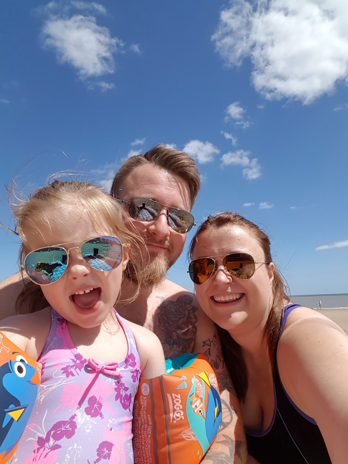 Frinton-on-sea - one of best sandy beaches near to London. Taking a family selfie by the seaside and sharing lots of pictures of Frinton beach.