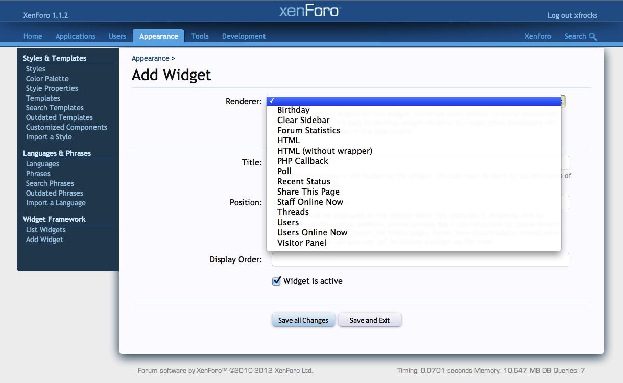 Addon [bd] Widget Framework cho xenforo, addon không thể thiếu khi sử dụng xenforo