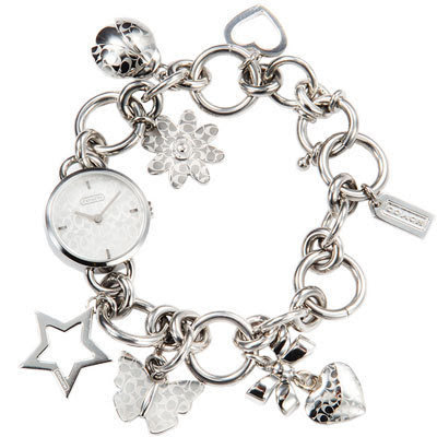 Coach Zoe Charm Stainless Steel Bracelet Las Watch