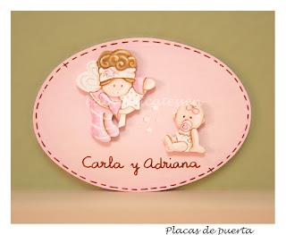 placa de puerta infantil  hermanitas hada y bebé babydelicatessen