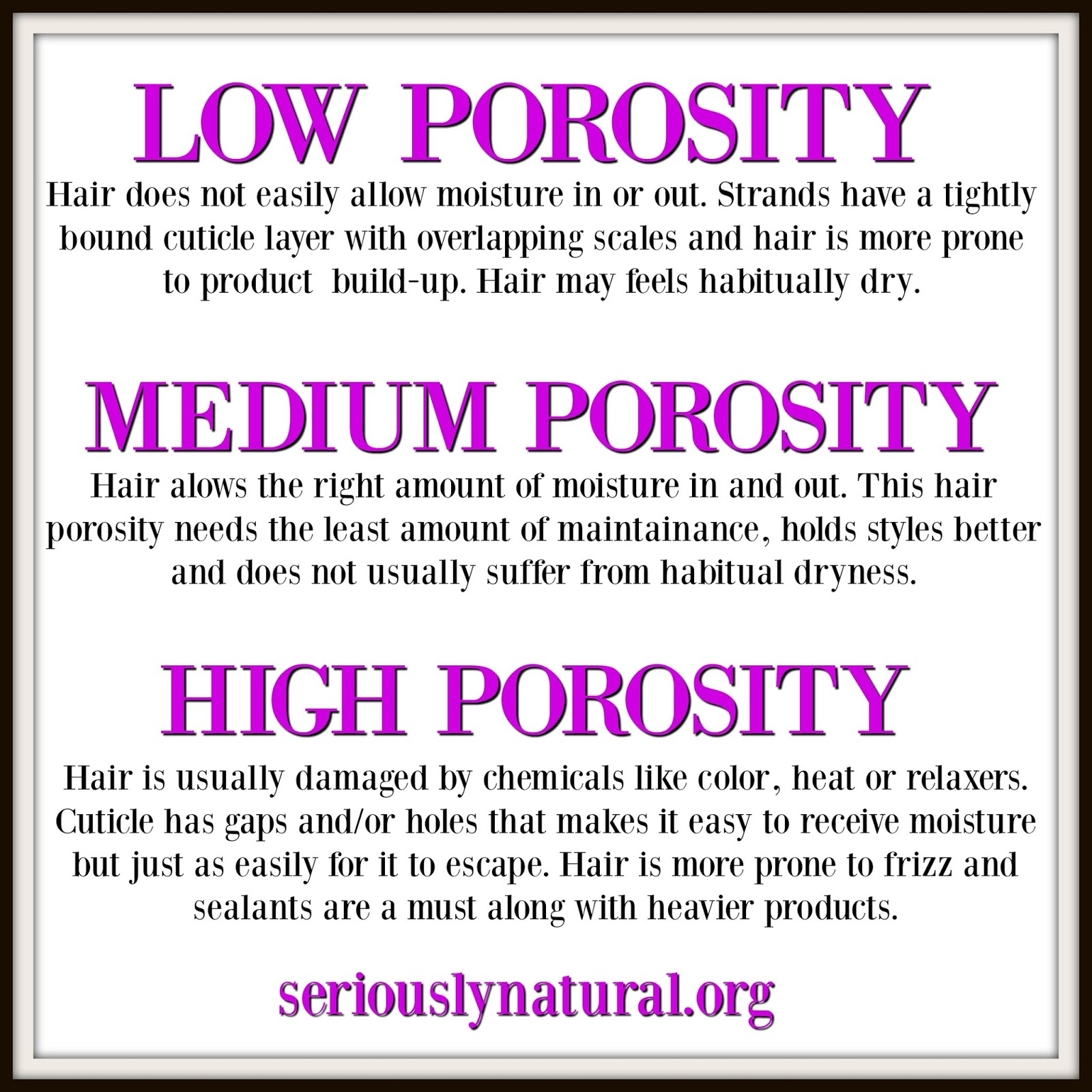 Hair porosity ishow well hair is able to absorb and hold onto moisture. There is low, medium and high and all three affect your hair.