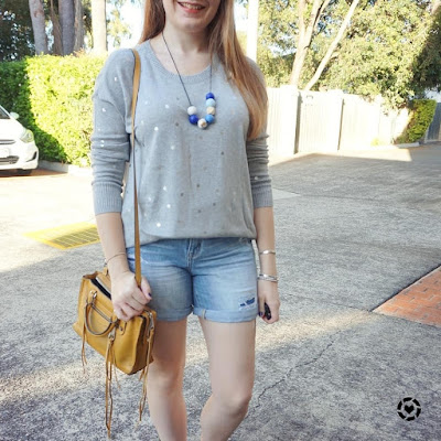 awayfromblue instagram polka dot foil print knit and denim shorts with mustard bag