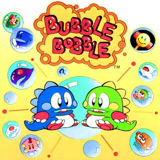 Bubble Bobble, portada del arcade original con los dragoncitos protagonistas