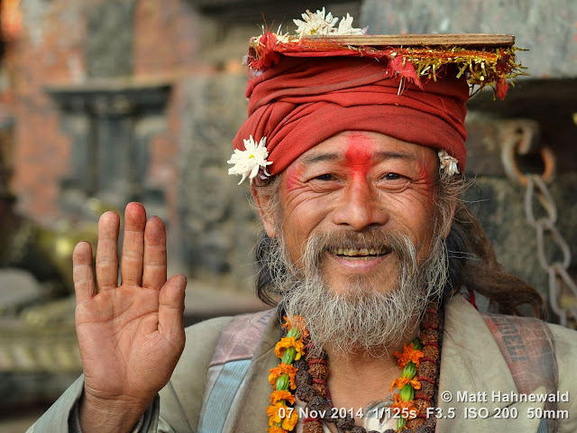 people, closeup, street portrait, Nepal, Bhaktapur, sadhu, Hinduism, holy man, religious ascetic, yogī, mokṣa, raised right hand, blessing