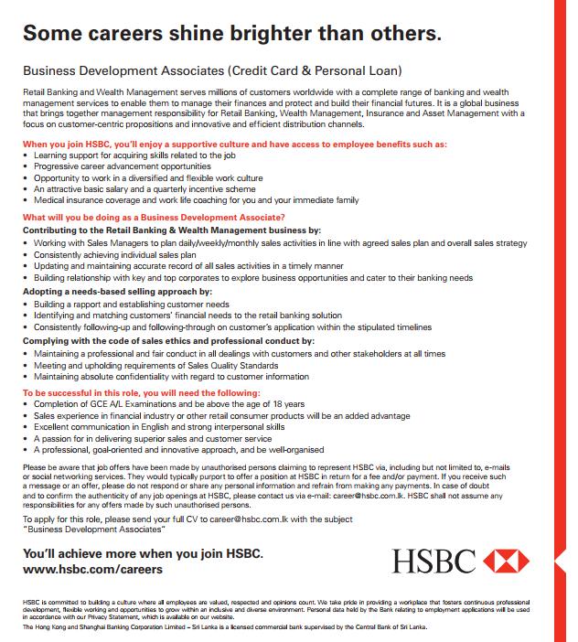 Vacancy In HSBC Post Of Business Development Associates (Credit Card &  Personal Loan)