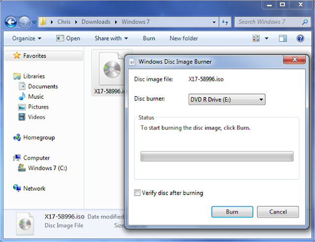 burn dvd langsung di windows