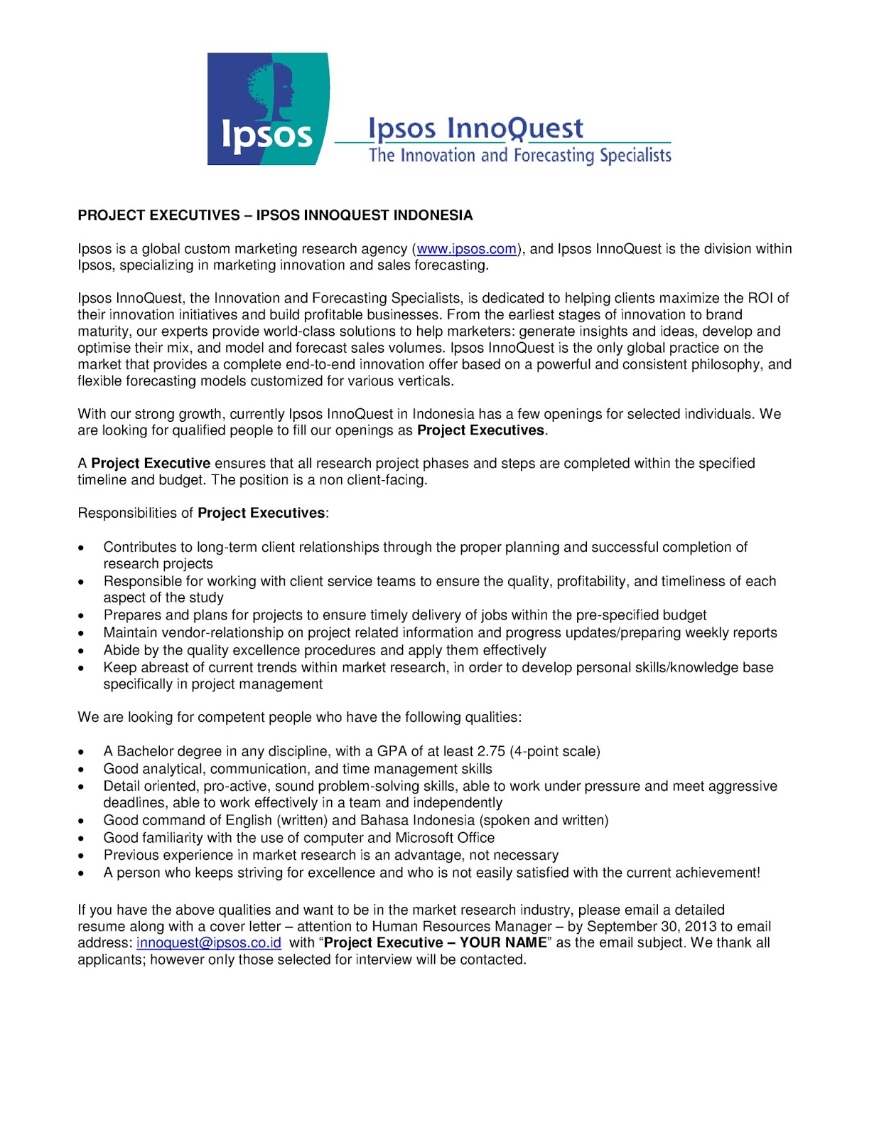 Project Executives - Ipsos InnoQuest Indonesia | InnoQuest