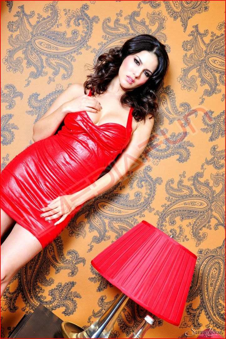 Hot Sunny Leone Hot Red Dress Photos-5951