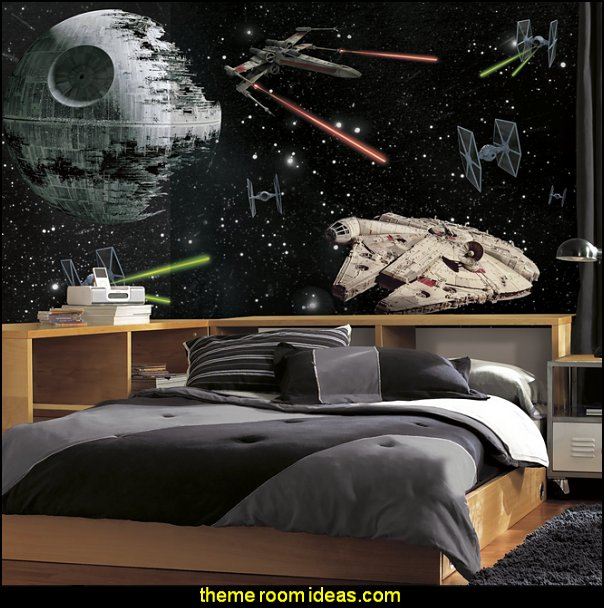 Star Wars Vehicles X-Large Chair Rail Prepasted Mural Star Wars Bedrooms - Star Wars Furniture - Star Wars wall murals - Star Wars wall decals - Star Wars bed - space ships theme beds - Star Wars Bedroom - Star Wars Decor - Sci Fi theme bedrooms - alien theme bedrooms - Stormtrooper Star Wars Theme Beds - Star Wars bedroom decor