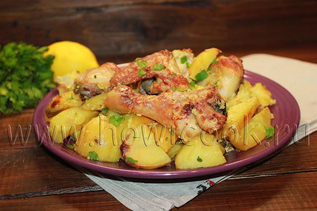 рецепт курицы с картофелем под соусом в духовке