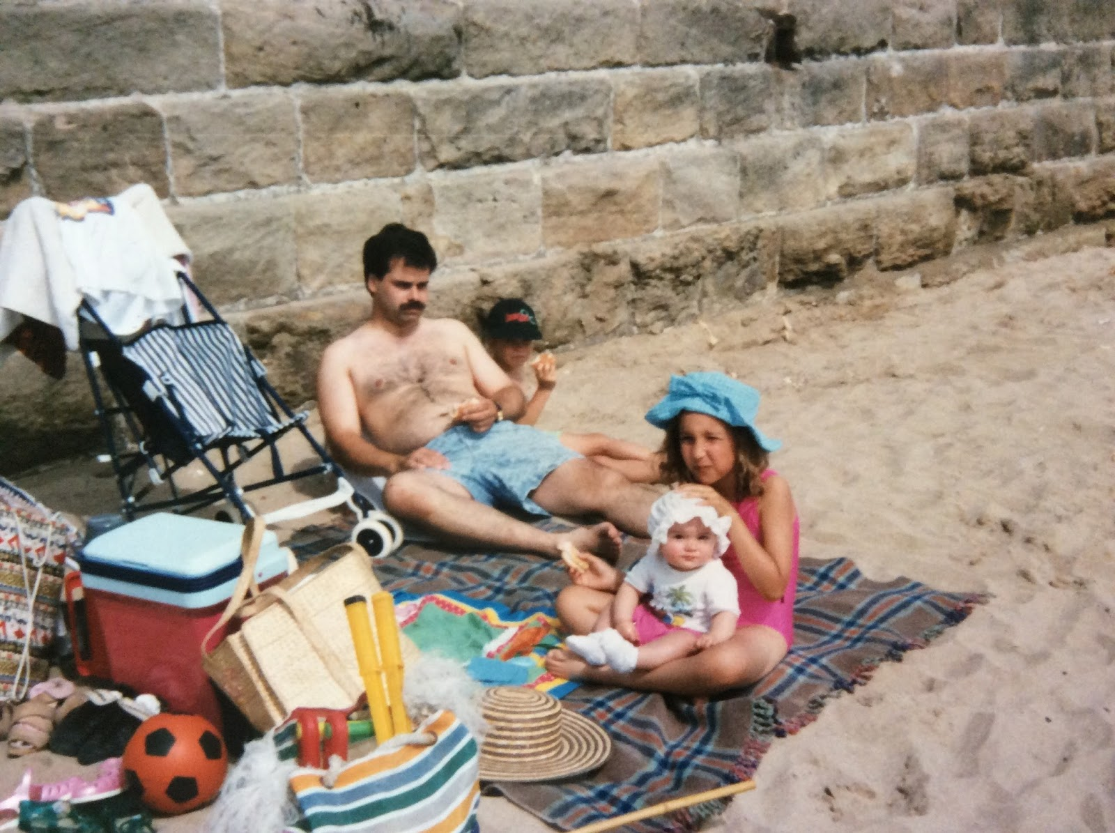 Family on a beach in UK