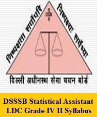 DSSSB Statistical Assistant LDC Grade IV II Syllabus