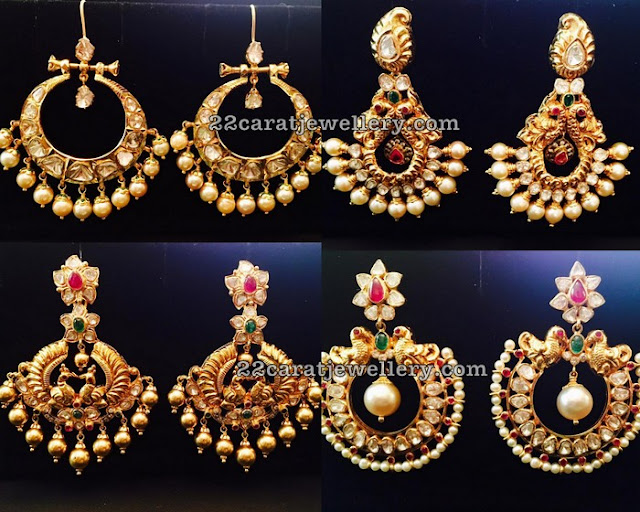 Large Chandbalis by Pushkala Jewellers