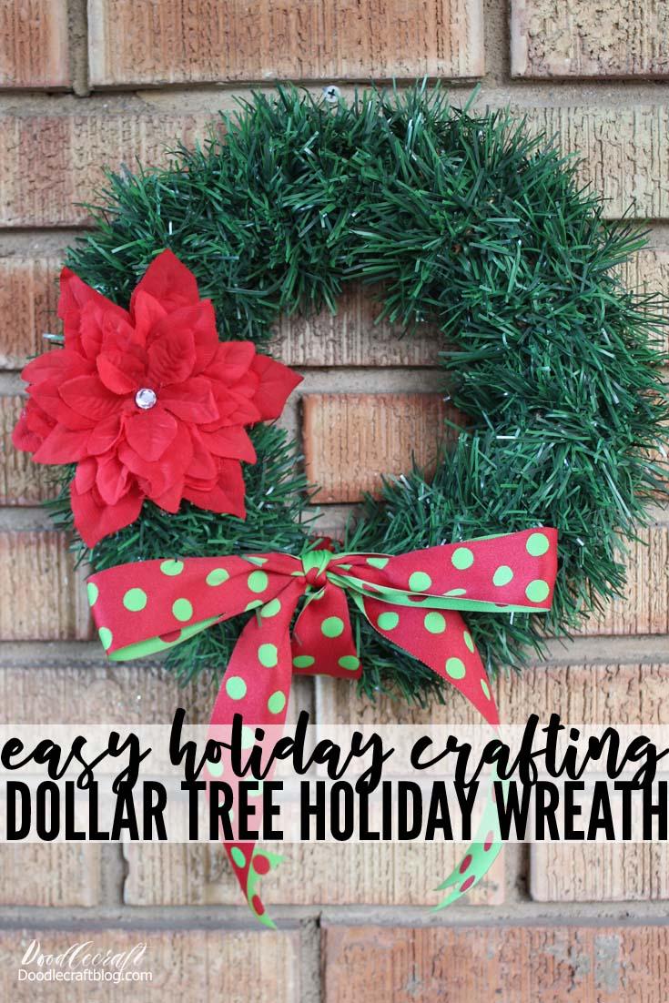 Dollar Tree Garland Wreath With Poinsettia Hair Bow Diy
