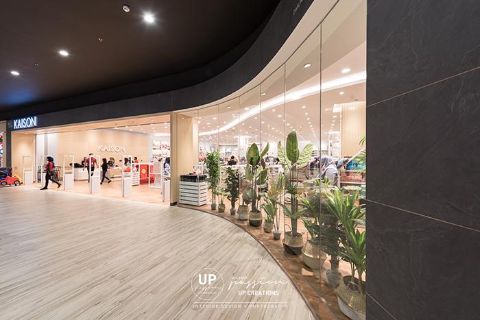 kaison aeon nilai shopfront with full glass for window display match with dark grey stone texture laminate