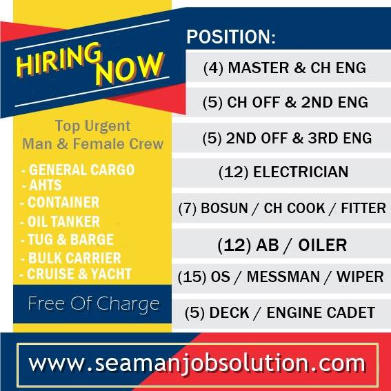 Hiring Crew Officers, Engineers, Ratings, Cadet - Seaman