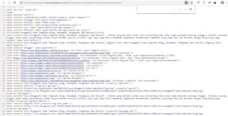 Mengetahui Kode Template Blog