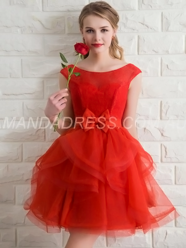 Red Graduation All Sizes Fall Appliques Lace-up Natural Classic & Timeless Dress