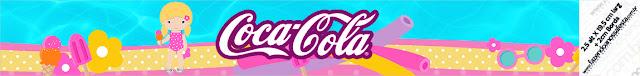 Etiquetas para botellas de Fiesta en la Piscina para Niña Rubia para imprimir gratis.