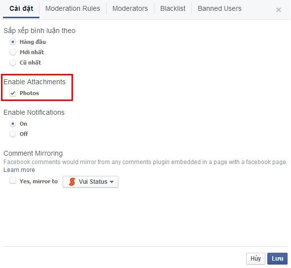 Comment facebook bằng hình ảnh và sticker trên website của bạn