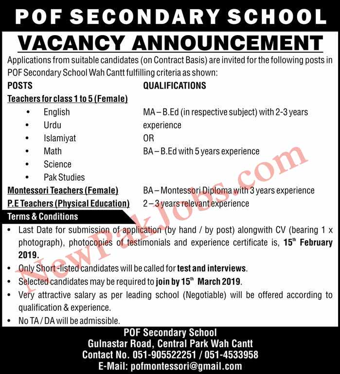 POF Secondary School Latest Jobs 2019