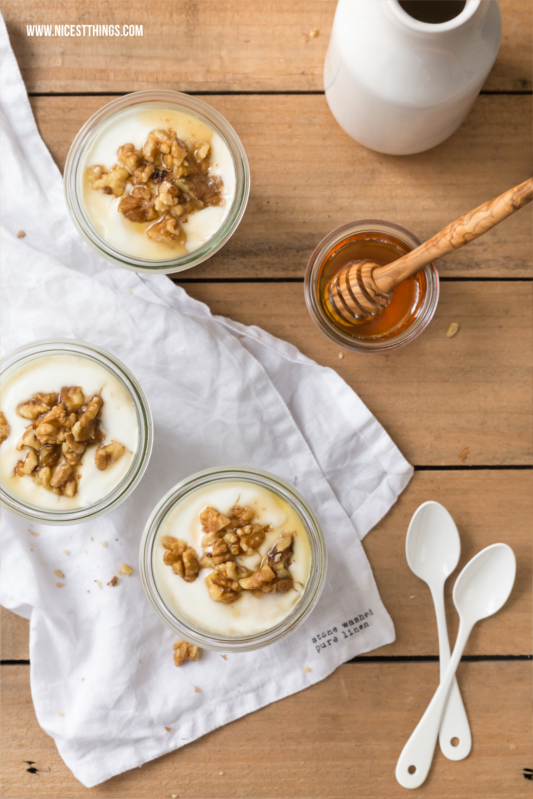 Yogurt Honey Tiramisu with caramellized Walnuts