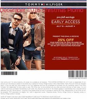 Tommy Hilfiger coupons december 2016