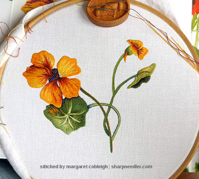 Fifth and final petal on thread painted nasturtium nearly complete. (Catherine Laurencon Capucines (Inspirations))