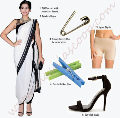 How To Drape The Traditional Indian Dhoti Saree Like Bollywood Actress Sonam Kapoor.