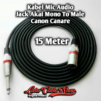 Kabel Mic Audio Jack Akai mono To Male Canon Canare 15 Meter