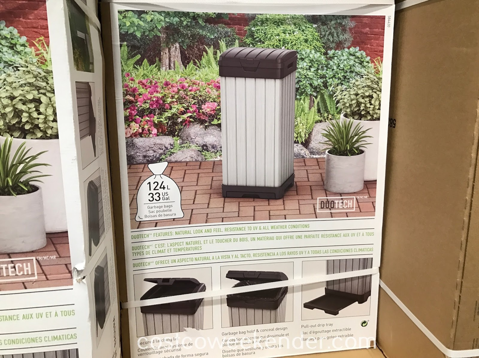Keep unsightly garbage out of sight and out of mind with the Keter Outdoor Waste Bin