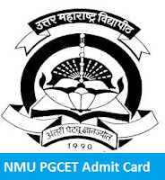 NMU PGCET Admit Card