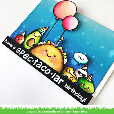 Have a Spec-taco-lar Birthday Card by Samantha Mann, Lawn Fawnatics Challenge, Lawn Fawn, Food, Cards, Taco, Birthday, Distress Oxide Inks, Ink Blending #lawnfawnatics #lawnfawn #cards #food #birthday #handmadecards #taco #oxideinks