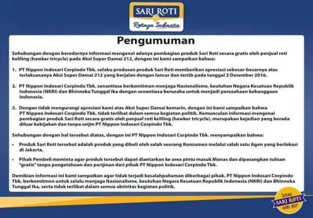 Jadi Blunder, Klarifikasi Sari Roti Soal Aksi 212 Bikin Netizen Heboh!!