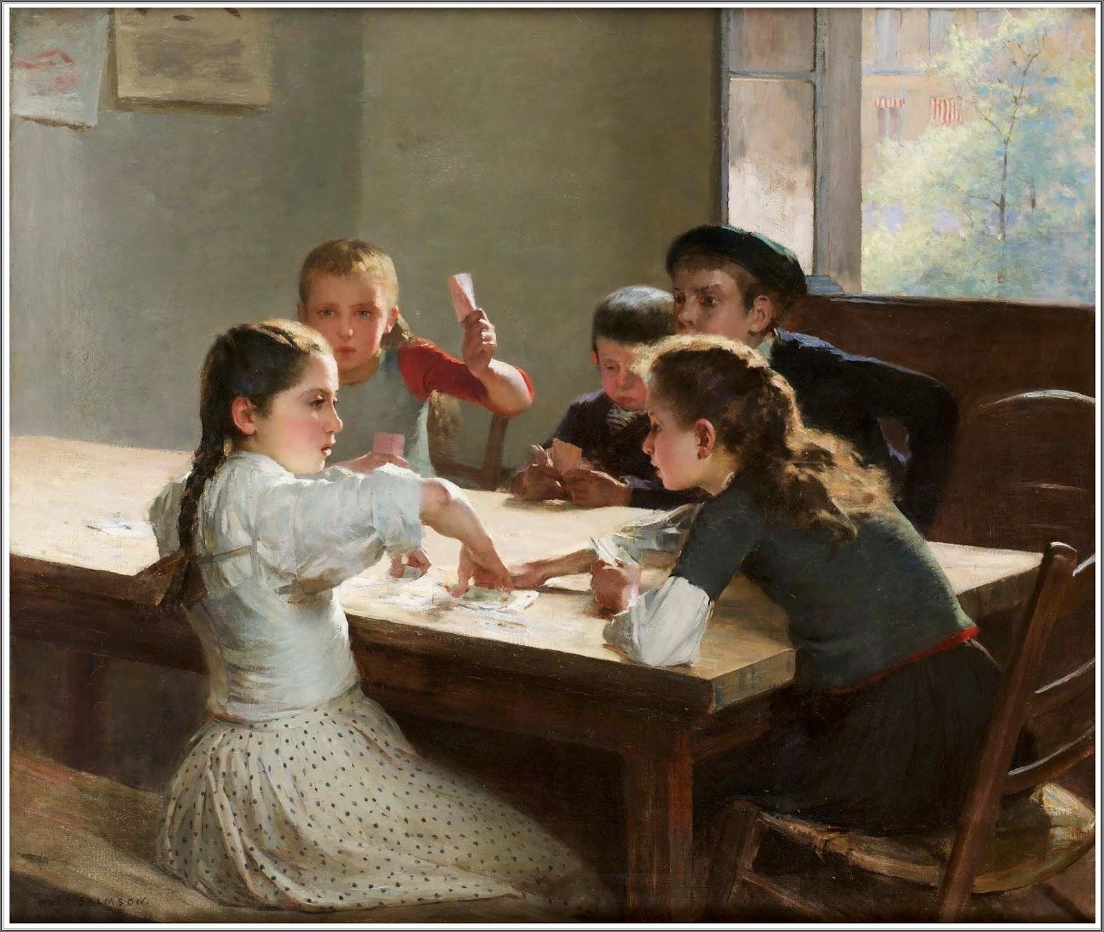hugo salmson 18431894 intrieur aux jeunes joueurs de cartes