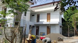 Progress pekerjaan Desain Rumah kost minimalis modern 2 lantai
