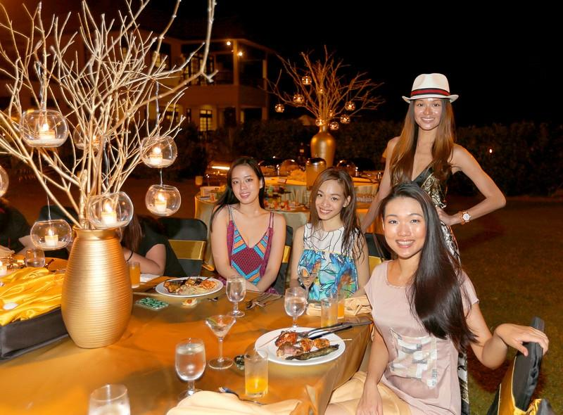 Luisa Gan, Nikki Tay, Patricia Eng, and Hazel Tay, who stayed overnight at the Bintan Lagoon Resort, enjoyed a scrumptious BBQ buffet dinner spread prepared by the resort staff.