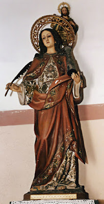 Santa Bárbara en la Capilla de San Pedro de Pelúgano de Abajo, Aller