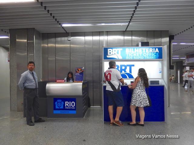 Bilheteria do BRT Transcarioca no aeroporto Galeão