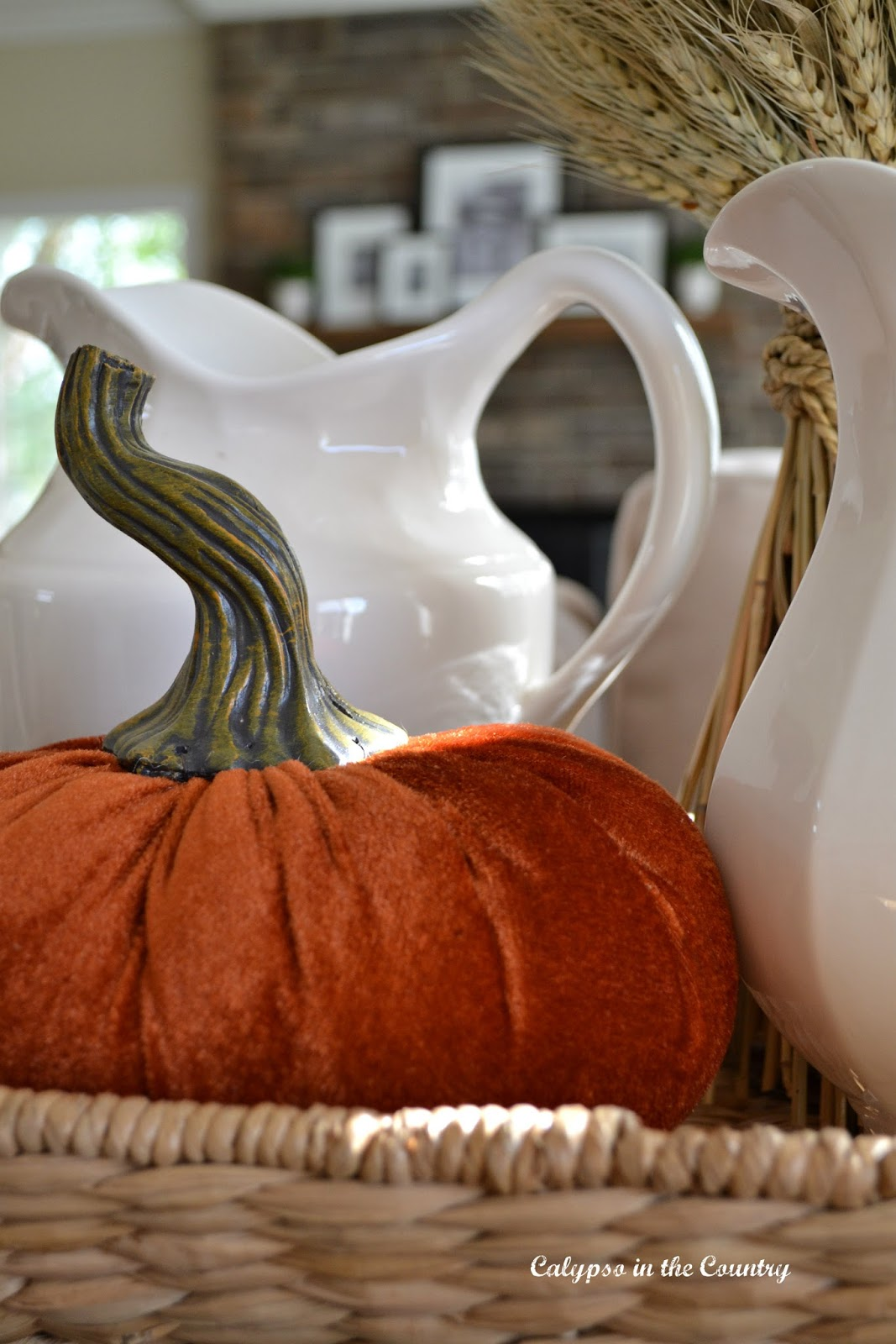 Festive Fall Vignette with Orange Velvet Pumpkin